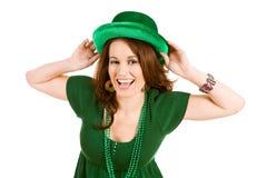 Zieleń: Zabawy kobieta Z St Patrick; s dnia kapelusz Zdjęcia Stock