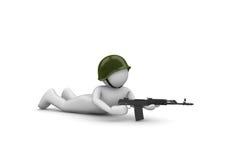 Zielen des Soldaten im Hinterhalt Stockfoto