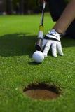 Zielen eines Golfballs zu einem Loch lizenzfreies stockfoto