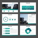 Zieleni Abstrakcjonistyczni wielocelowi prezentacja szablony, Infographic elementów szablonu płaski projekt ustawiają dla broszur ilustracji