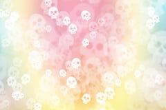 Zieleni, błękitnego i różowego pastelowy kolorowy tło z czaszką, ilustracji
