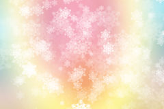 Zieleni, błękitnego i różowego pastelowy kolorowy tło z płatkami śniegu, ilustracja wektor