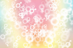 Zieleni, błękitnego i różowego pastelowy kolorowy tło z płeć symbolem, royalty ilustracja