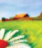 Zieleni, białego i błękitnego trójbok, Dom i kwiat Lato Obraz Royalty Free