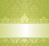 Zieleni & białego ornamentacyjny rocznika zaproszenia projekt Obrazy Stock