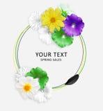Zieleni, bielu i czerni kwiaty, i czarny płatek na okręgu tle Ślaz, Rudbeckia i dalia kwiaty, fałszywy mody tła komputerowy ekran Obraz Royalty Free
