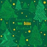 Zieleni Bożenarodzeniowi Jedlinowi drzewa i Złoty opad śniegu ilustracji