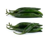 Zieleni chili pieprze odizolowywający na białym tle Obraz Royalty Free