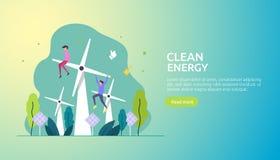 zieleni czystych energii ?r?d?a odnawialny elektryczny s?o?ce panel s?oneczny, silniki wiatrowi i ?rodowiskowy poj?cie z lud?mi c ilustracja wektor