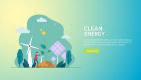 zieleni czystych energii ?r?d?a odnawialny elektryczny s?o?ce panel s?oneczny, silniki wiatrowi i ?rodowiskowy poj?cie z lud?mi c ilustracji