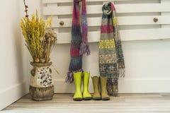 Zieleni dżdżyści buty i kolorowi szaliki wiesza w barłóg ścianie Obrazy Stock