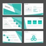 Zieleni deseniowi prezentacja szablonu Infographic elementy i ikona płaskiego projekta broszurki ustalony reklamowy marketingowy  Zdjęcia Stock