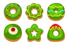 Zieleni donuts ustawiający Fotografia Stock