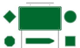 zieleni drogowi znaki Obrazy Royalty Free