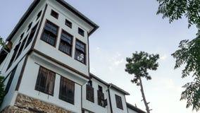 Zieleni drzewa blisko drylują dom zdjęcie royalty free