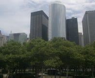 Zieleni drzewa i budynki obrazy royalty free