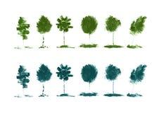 Zieleni drzewa z organicznie naturalnym tłem z eco grunge tusz do rzęs ołówkową teksturą Obraz Stock