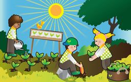 zieleni dzieciaki Zdjęcia Stock