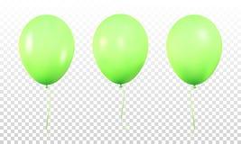 Zieleni glansowani balony Set realistyczny hel szybko się zwiększać dla urodziny ilustracja wektor