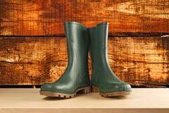 Zieleni gumowi buty dla ogrodowej pracy Fotografia Stock