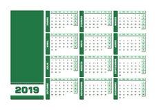 Zieleni 2019 hiszpańszczyzn kalendarz Printable krajobrazowa wersja royalty ilustracja