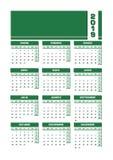 Zieleni 2019 hiszpańszczyzn kalendarz Printable portret wersja ilustracja wektor