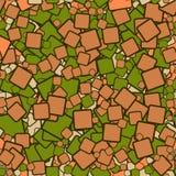 Zieleni i brązu kwadraty - bezszwowy wzór ilustracja wektor