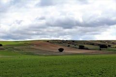 Zieleni i brązu pokojowy krajobraz z chmurami Zdjęcia Royalty Free
