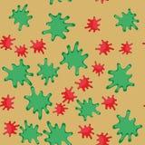 Zieleni i czerwonej kleks kreskówki bezszwowy wzór 623 Fotografia Stock