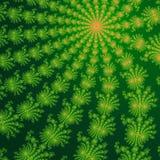Zieleni i pomarańczowi fractal ornamenty w ciemnozielonym tle komputer generuje grafiki Obrazy Royalty Free