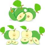 Zieleni jabłczani plasterki, kolekcja ilustracja Zdjęcia Stock