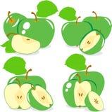 Zieleni jabłczani plasterki, kolekcja ilustracja Obrazy Royalty Free