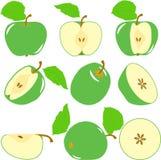Zieleni jabłczani plasterki, kolekcja ilustracje Zdjęcie Royalty Free