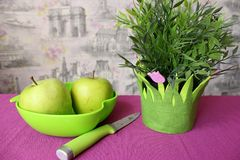 Zieleni jabłka z kwiatami na stole Zdjęcie Royalty Free
