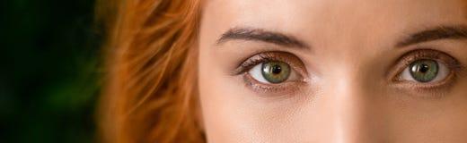 Zieleni oczy młoda rudzielec kobiety panorama zdjęcie royalty free