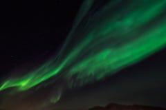 Zieleni północni światła i starlight niebo nad Nuuk miastem, zieleń Zdjęcia Royalty Free
