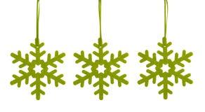 Zieleni płatki śniegu dla choinki Zdjęcie Royalty Free