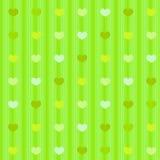 Zieleni pastelowi serca na pasiastym sukiennym bezszwowym tle ilustracja wektor