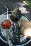 Zieleni pieprze, czerwoni pomidory i oberżyna, Obraz Stock