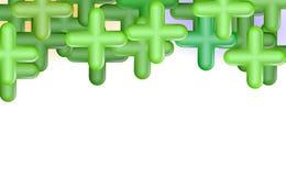 Zieleni pluses lub krzyże Odgórna otoczka, kopii przestrzeń, projekta pojęcia tło Abstrakcjonistyczny składu sztandar, realistycz ilustracja wektor