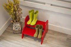 Zieleni podeszczowi buty na czerwieni dwa kroków drabinie Obrazy Stock