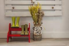 Zieleni podeszczowi buty na czerwieni dwa kroków drabinie i wazie z wysuszonym f Fotografia Stock