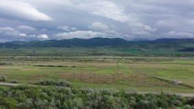 Zieleni rzeka i pola G?ry s? Widoczne na horyzoncie zdjęcie wideo