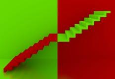 Zieleni schodki w czerwonym tła wnętrzu, 3d Zdjęcie Royalty Free