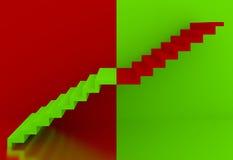 Zieleni schodki w czerwonym tła wnętrzu, 3d Obraz Stock