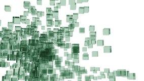 Zieleni szklani bloki przypadkowo ustawiający w przestrzeni z białym tłem Obrazy Royalty Free