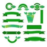 Zieleni sztandary ustawiający - ilustracja Obrazy Royalty Free