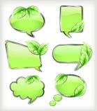 Zieleni sztandary z liściem. Wektorowa ilustracja Zdjęcia Stock