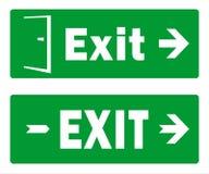 Zieleni wyjście znaka szablonu projekty paczka Dwa wektoru - wyjście ewakuacyjne - ilustracja wektor