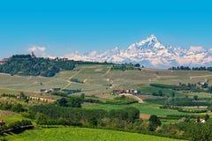 Zieleni wzgórza i śnieżny halny szczyt na tle w Włochy obrazy stock